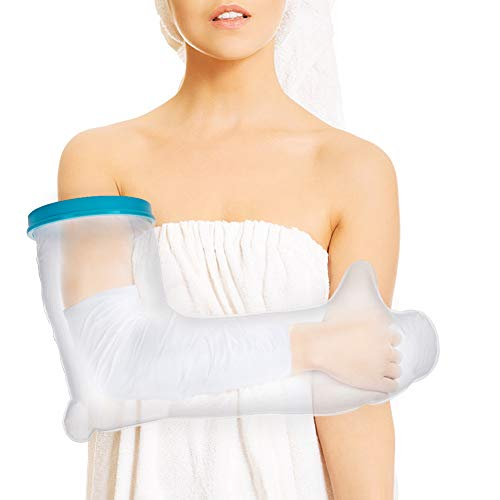 Full Arm Cast Cover for Shower, Adult Waterproof Cast Protector and Shower Bandage for Broken Surgery Arm, Wound and Burns to Keep The Hand Wrist Fingers Arm Dry -Full Arm - Adult Arm