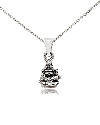 Fat Zen Buddha 92.5 Sterling Silver Charm Necklace Pendent Jewelry (Chain Silver Pendent)
