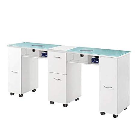 Mesa de manicura doble de cristal para escritorio, salón de ...