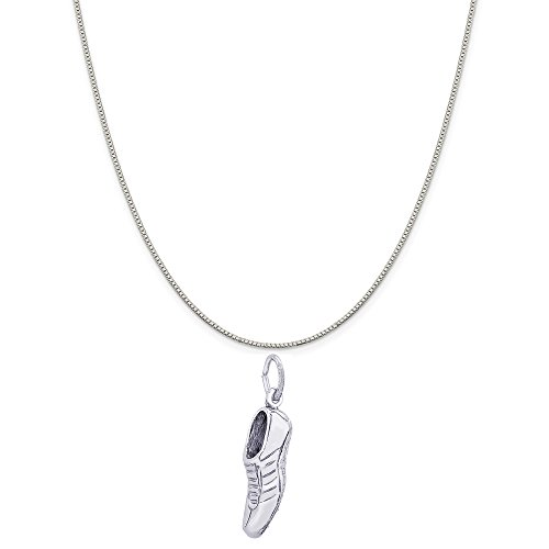 Rembrandt Charms Sterling Silver Track Shoe Charm on a Sterling Silver Box Chain Necklace, 16