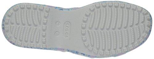 crocs Womens Meleen Twist Graphic Flat Sandal Light Blue/Tropical