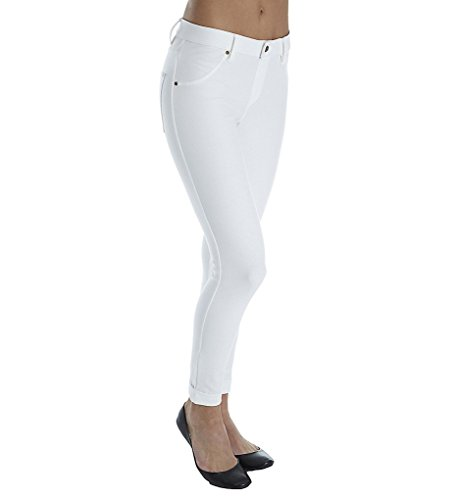 Petite Ankle Pant (HUE, Women's, HUE Women's Cuffed Essential Denim Skimmer Leggings, White, XS)