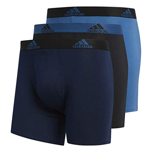 (adidas Men's Stretch Cotton Boxer Briefs Underwear (3-Pack), Collegiate Navy/Black Black/Core Blue Core Blue/Blue, Medium)