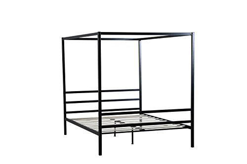 "Oliver Smith - Modern Heavy Duty Black Iron Metal Platform Canopy Bed with Slats/No Box Spring Needed/Wooden Slat Supports - 5 Year Warranty Included - 00016-72"" High Queen"