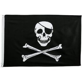 Pirate (Skull and CrossKnife) Flag - 3 foot by 5 foot Polyester (Flags) (Fabric Pirate Flag)