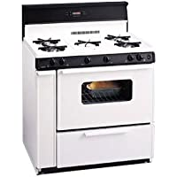 Premier SLK249WP White 36 Three-Way Top Electronic Spark Gas Range with 3.9 Cu. Ft. Capacity Five Cooktop Burners 10 Tempered Black Glass with Clock/Timer and Windowed Oven Doo