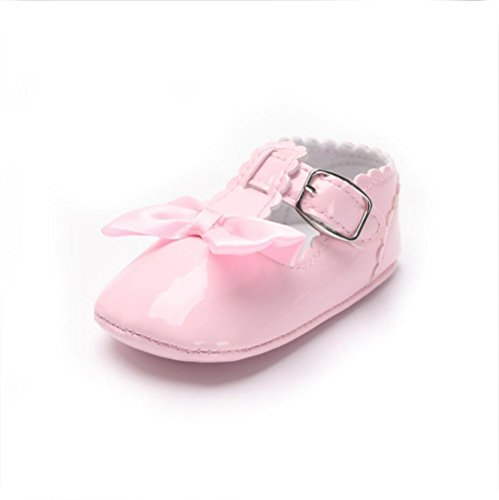 YYF Baby-Schuhe Mary Jane Shoes PU Leder Weiche Sohle mit Bowknot Firstwalk Anti-Slip Schuhe Rosa