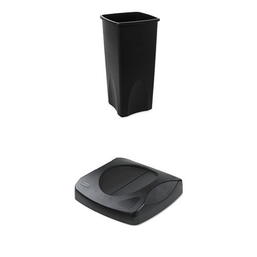 Rubbermaid Commercial 23-Gallon Untouchable Trash Can with Swing Lid Combo, Rectangular, Black (FG356988BLA & ()