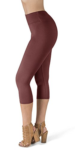 SATINA High Waisted Super Soft Capri Leggings - 20 Colors - Reg & Plus Size (One Size, Wild Ginger)