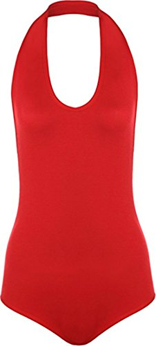 Commencer Ladies Women's Halter Neck Sleeveless Backless Stretched Bodysuit Top Thin Fabric RED-S/M