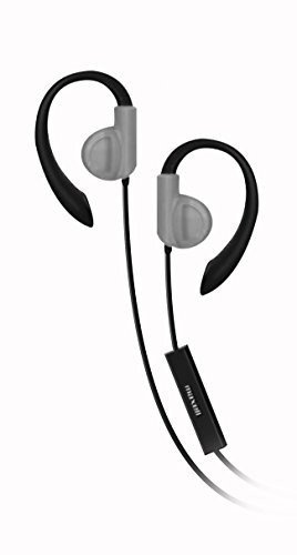 Maxell 199635 Ergonomically-Shaped Ear Hook Stable and Comfortable Fitness Earhook Headphones with Microphone - Silver ()