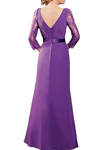 Guertel Fuchsia Elegant Dunkel mit Lang Chiffon Braut Brautmutterkleider Spitze La Langarm Abendkleider Marie Partykleider OaqxvSg