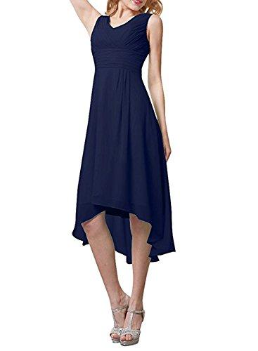 ACHICGIRL Mujer Vestido d Fiesta Damas de Honor Alto-bajo sin Mangas Cuello Redondo de Color Sólido marino