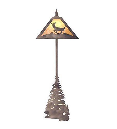 Meyda Tiffany Custom Lighting 13260 Lone Deer 4-Light Floor Lamp, Timeless Bronze Finish and Beige Art Glass