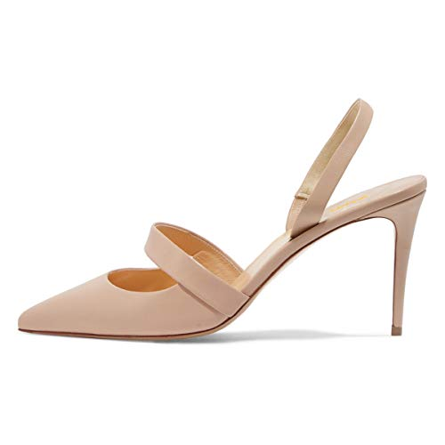 - XYD Women Sexy High Heel Slingback Pumps Pointed Toe Slip On Basic Office Sandal Shoes Nude Size 10