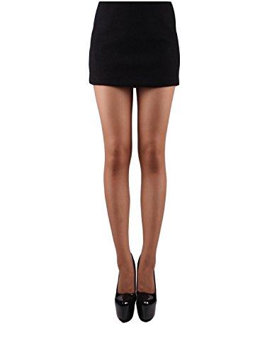 10STAR11 Women's 20 Denier Sheer Full Support Sheer Toe Silky Pantyhose Tights MOCHA,M/L