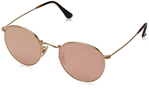 Ray-Ban RB3447N 001/Z2 Non polarized Round Sunglasses, Gold/Copper Flash, - Ray Sunglasses Round Ban Polarized