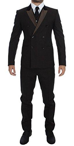 Dolce & Gabbana Brown Striped Wool Slim 3 Piece Suit (Dolce & Gabbana Striped Suit)
