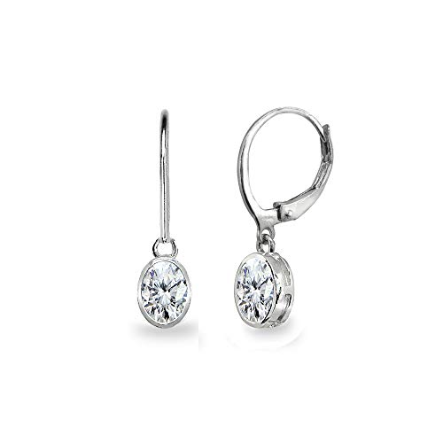 Sterling Silver Cubic Zirconia 7x5mm Oval Bezel-Set Dainty Dangle Leverback Earrings for Women, Teen Girls