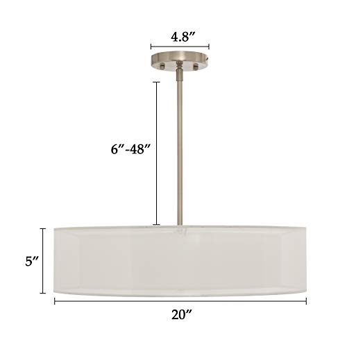 CO-Z 3 Light Brushed Nickel Double Drum Pendant Chandelier, Convertible Semi-Flush Mount Drum Ceiling Lighting Fixture with Fabric Shades and Diffuser for Kitchen Island Dining Room Table Bedroom Bar by CO-Z (Image #6)