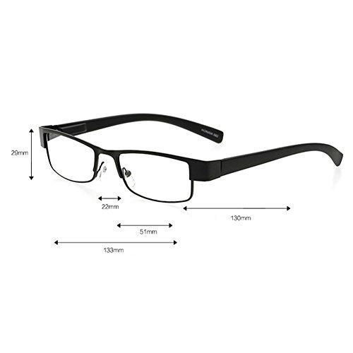 lectura gafas 4 Gray Intensidad de cuadrados a 0 cuadrados Viejo 0 anteojos de de lectura hombre 1 Lentes Dintang Lentes metal las qCgxZBtE
