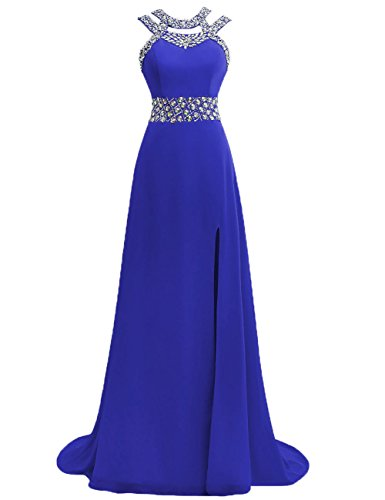 JAEDEN Long Prom Dresses Chiffon Bridesmaid Dress Beaded Formal Evening Dress with Split Royal Blue US16W