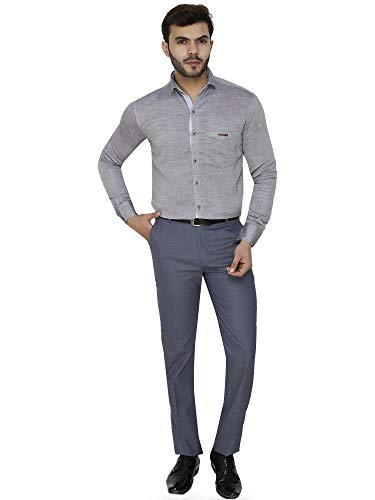 Fyster Cotton Fabric Solid Pattern Regular Fit Formal Trouser OR Slim Fit Office Men's Pants for Daily Office