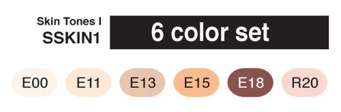 Copic Marker SKST6-SKIN Sketch Skin Tones 1 Marker (Pack of 6)