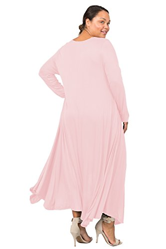 Love In D6190C-PX Long Sleeve Round Neck Flared Maxi Dress W/Pocket Blush 3X by Love In (Image #5)