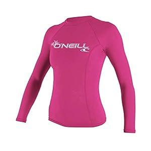 O'Neill UV 50+ Sun Protection Womens Basic Skins Long Sleeve Crew Sun Shirt Rash Guard, Fox Pink, Medium