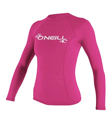 04a847262 O'Neill UV 50+ Sun Protection Womens Basic Skins Long Sleeve Crew Sun Shirt  Rash Guard, Fox Pink, Medium