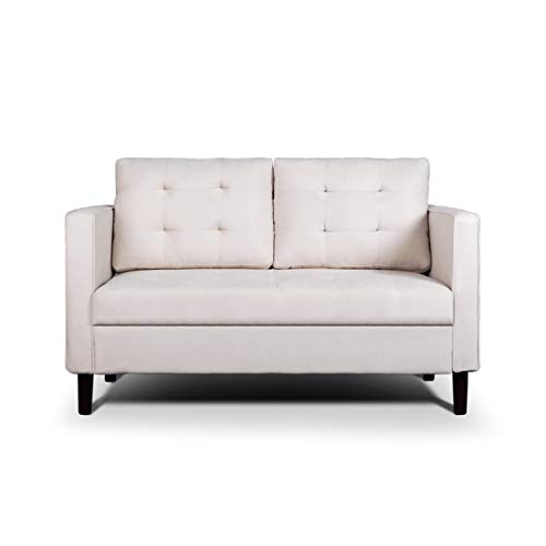 AODAILIHB Modern Soft Cloth Tufted Cushion Loveseat Sofa Small Space Configurable Couch (Almond White)