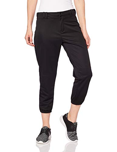 Alleson Ahtletic Women's Fast Pitch Softball Belt Loop Pants, Black, Medium