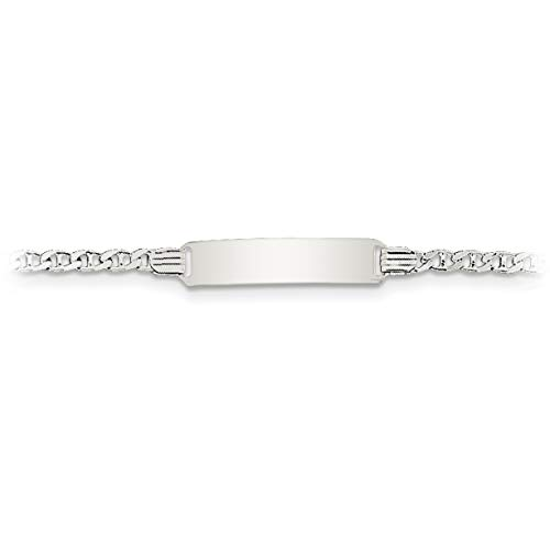 (Brilliant Bijou Children's Solid .925 Streling Silver Personalized ID Bracelet - 6 inches for Baby/Child/Toddler/Boy or Girl with Free Engraving)