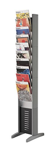 PaperFlow EPI Single-Sided Literature Display Rack, 10 Pockets, Letter Size, 63.78 x 11.8 x 15.17 Inches, Silver (278N.35)
