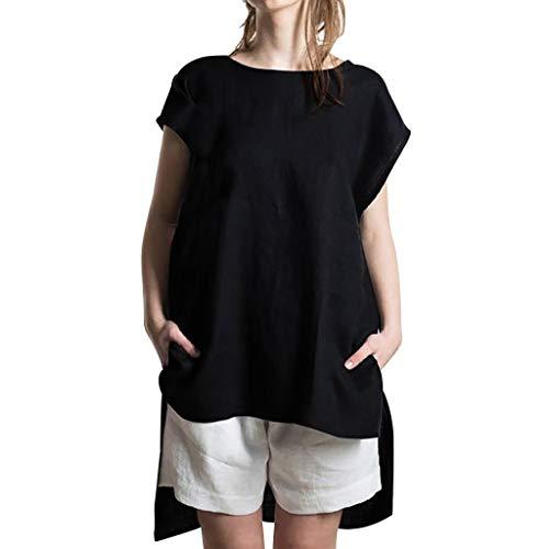 Wadonerful Price!Women Summer Casual T Shirt Solid Color O Neck Short Sleeve Irregular Hem Tops Black