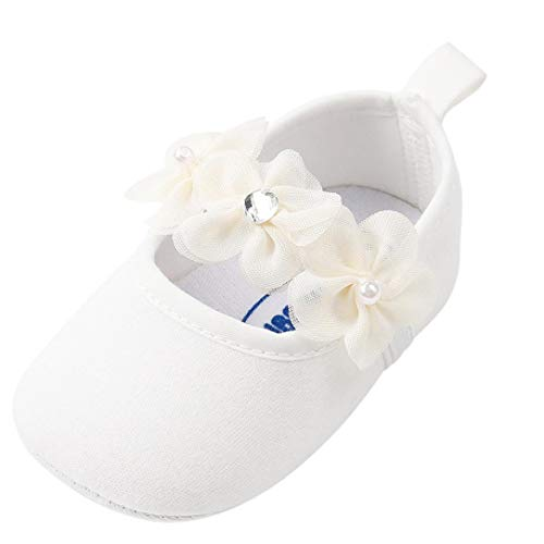 Tronet Baby Shoes, Toddler Girls Pearl Fashion Cotton First Walkers Non-Slip Kid Shoes (White, 13(Age:12-18Months)) -