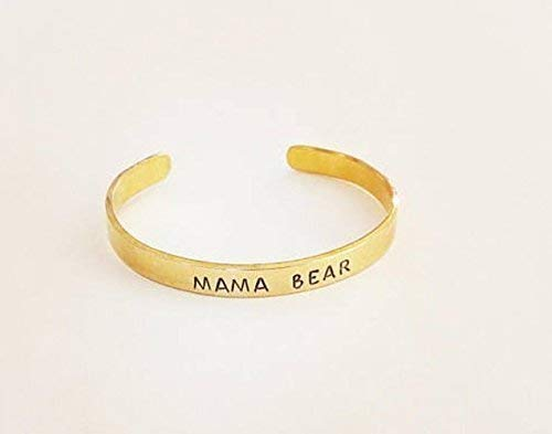 Mama Bear Cuff Brass, Copper or Aluminum Bracelet Gift For Mom