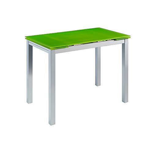 MOMMA HOME Mesa de Cocina Extensible - Modelo CALCUTA - Color Verde/Plata - Material Cristal Templado/Metal - Medidas 100/140 x 60 x 76 cm