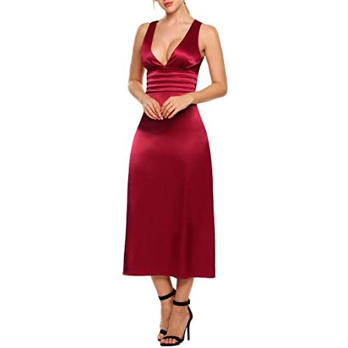 570d2b5379050c 60%OFF ANGVNS Women Sleeveless Deep V-Neck Ruched Waist Backless Evening  Party A