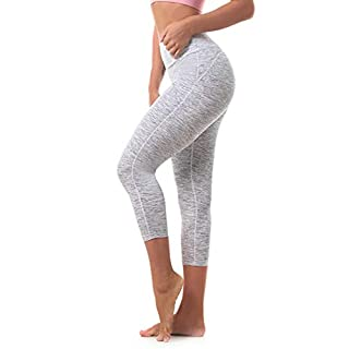 Ritiriko Women's Yoga Pants High Waisted Crop Workout Running Leggings Tummy Control Yoga Capris