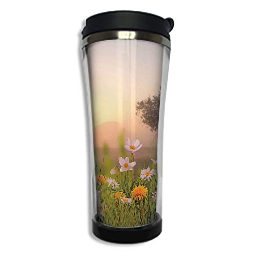 Travel Coffee Mug 3D Printed Portable Vacuum Cup,Insulated Tea Cup Water Bottle Tumblers for Drinking with Lid 8.45 OZ(250 ml)by,Nature,Daisy Flowers Meadow with Tree Background in Mist Ecp Garden Bot (Daisy Creamer)