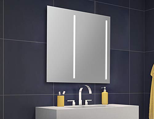 """Fleurco MSUO3636R SUNRISE Mirror 36"""" W x 36"""" H/Defogger and Off-Cent. Light With Switch: Off Centered Light Placement - Right Side"""