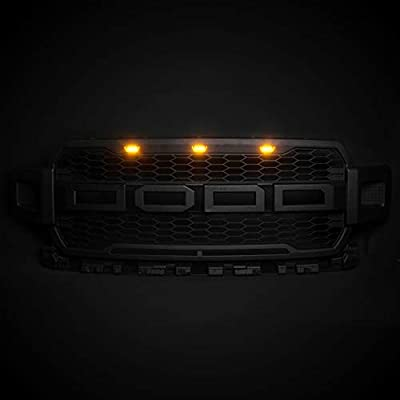 MotorFansClub 3PCS Amber LED Grille Running Lamps, Front Bumper Hood Grille LED Light for Ford F150/F250 Raptor 2004-2014 & 2014-up (Grille Not Included): Automotive