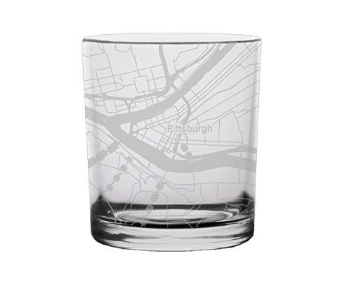 (Pittsburgh City Map Whiskey Glass Pennsylvania)