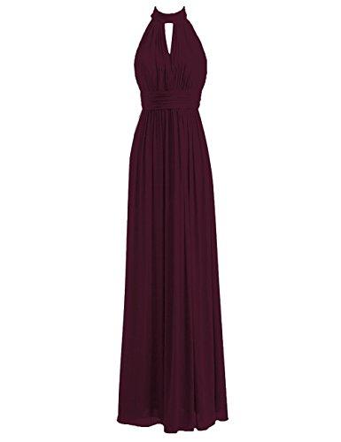 - JAEDEN Bridesmaid Dress Halter Long Wedding Party Dress Chiffon Prom Dress Pleat Evening Gowns Dark Burgundy 3X