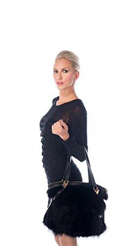 Leather Handbag Avenue (MadisonAveMall Women Black Zippered Tote Real Raccoon Fur Genuine Leather Handles)