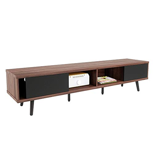 Bestier 70 Inch Large Entertainment TV Stand with 6 Legs, Wood Media Storage Console Center for TV, Mid Century Modern Entertainment Center Hollow Core TV Stand Cord Management for Living Room, Walnut