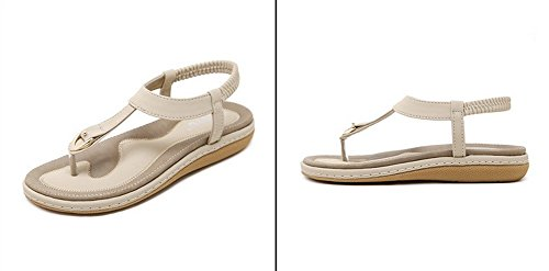 Vocni Women's Summer Bohemia Style Clip Toe Sandals Metal Flat Sandals Flip Flops Shoes with Beads Elastic T-Strap Flat Slippers Thongs Beach Shoes for Women and Girls Apricot bvvIQmg