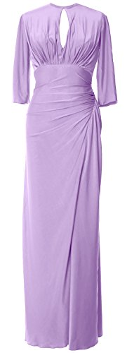 Bride Long Gown Lavendel Dress Jersey Women MACloth Evening of Formal Half Mother Sleeve wAnFH